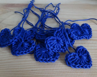 Royal blue Crochet hearts - Crochet flowers - Crochet applique hearts - Crochet appliqué flowers
