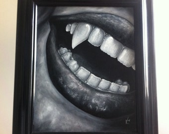 Vampire fangs teeth mouth oil painting black and white realism framed art goth halloween