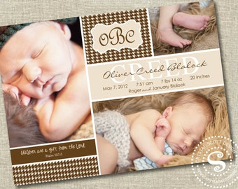 Photo Birth Announcement, Birth Announcements, Baby Boy, It's a Boy, houndstooth, Boy Announcements, Photo Cards, New baby, Monogrammed