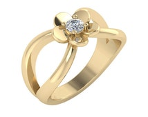 Blooming Flower Diamond Ring, Flower Diamond Engagement Ring, Flower Diamond Ring, Minimalist Diamond Ring, Yellow Gold Diamond Ring