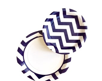 Paper Plates// Navy Blue and White Chevron