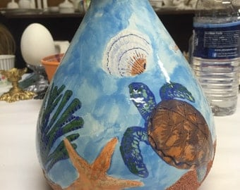 Ceramic flower vase fish themed