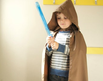 Brown Hooded Cape Cloak | Kids Harry Potter Jedi Hobbit Costume Brown Cape with Hood