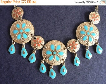VALENTINES DAY SALE Vintage Boho Chic / Gypsy Enamelled Gold toned  Necklace