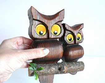 Retro Wooden Owls Wall Decor Vintage Owl Wall Hanging