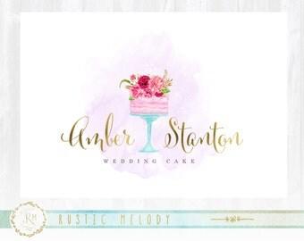 Cake Logo design, Bakery Logo, Wedding Cake logo, Events Logo, Floral Logo, Watercolor Logo, Artisan Cake