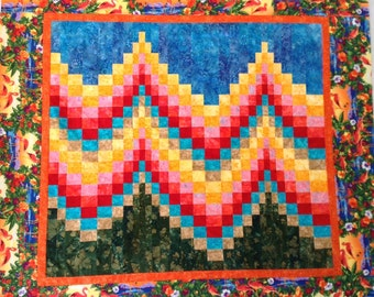 Unfinished Quilt Top, Bargello Quilt Top, Wall Quilt, Bright Quilt, Bright Blanket, Patchwork Quilt, Bright Throw Blanket, Tropical Quilt