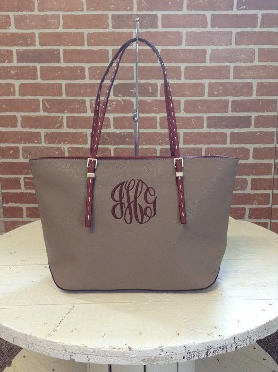 Monogram Purse Bag Tote/ Monogram Taupe Pocketbook, Taupe monogram purse/ Classic Black purse/ Designer Inspired Tote/ Leather purse