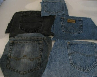 Five pair of recycled denim jean pockets