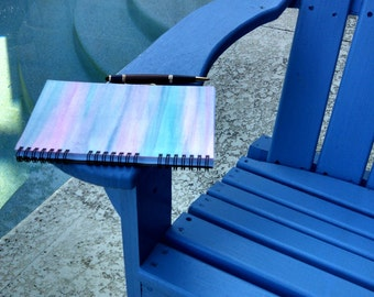Hand Painted Spiral Journal; FREE SHIPPING; Watercolor Art on Wire Bound Blank Notebook; Writing Sketching; Unique Gift; One of a Kind Diary