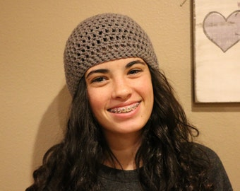 Crochet dark grey beanie handmade