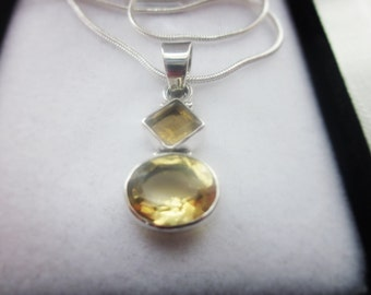 Engaging Citrine Gemstone, Silver Pendant Necklace