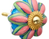 Pink, Blue, Green Flower Decorative Ceramic Dresser Drawer, Cabinet or Door Knob Pull - M500