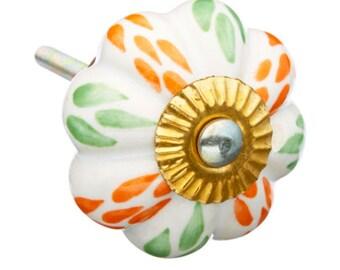 Orange & Green Ceramic Dresser Knob, Pull, Drawer Ceramic Knob Pull i12