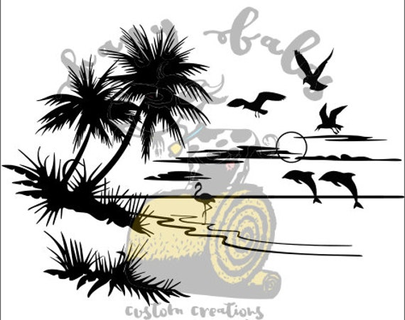 beach scene summer  svg  dxf
