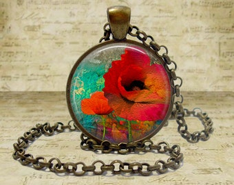 Red Poppy Necklace red poppy pendant jewelry flower necklace floral pendant necklace flower gift for gardener flower pendant