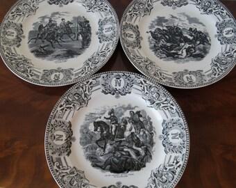 3 Napoleon Bonaparte Plates Boch Belgium 23cm