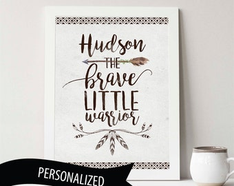 Personalized Nursery Art Print 8x10 or 11x14, the brave little warrior, earthy rustic, nursery decor, custom gift, personalized gift, arrow
