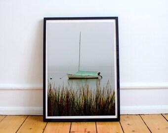 moored, sailboat, fog, crocker neck conservation area, barnstable, cape cod, massachusetts, new england, photography, fine art print