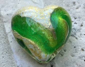 Peridot and Emerald Swirl 24kt Gold Foil Large Heart 30mm Venetian Bead
