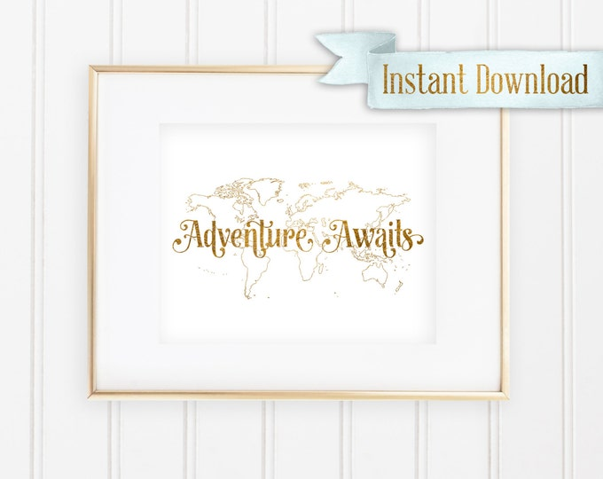"Disney's Up! Inspired ""Adventure Awaits"" - Printable - Instant Download"