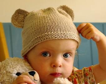 Beginner Knitting kit - baby teddy bear hat / Easy baby knitting / Teddy hat knitting /  Personalised knitting needles/ Baby shower