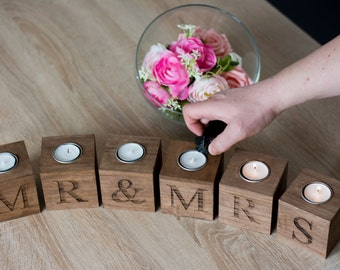 Mr And Mrs Home Decor Wedding Gift For The Couple Wooden Rustic Candle Holder Gift The