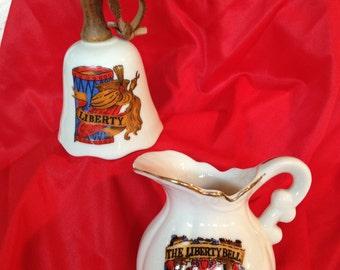 Vintage 1980's Enesco porcelain Liberty Bell pitcher & Liberty Bell