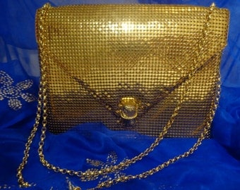 Vintage retro Excellent condition gold mesh evening purse or clutch/shoulder bag/handbag 1960's ,gold party bag Whiting and Davis