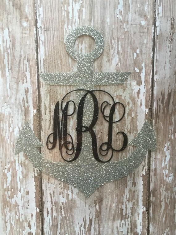 Anchor Iron on Monograms/ Anchor Car Decal/ Anchor with Bow