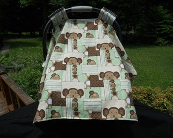 Car Seat Canopy/  Car Seat Cover/ Green, Brown Monkey