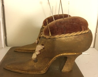 Antique Victorian shoes pin cushion
