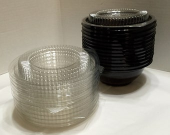 Plastic Containers, Upcycled Plastic Bowls w/Lids, Recycled Bowls, Storage Containers
