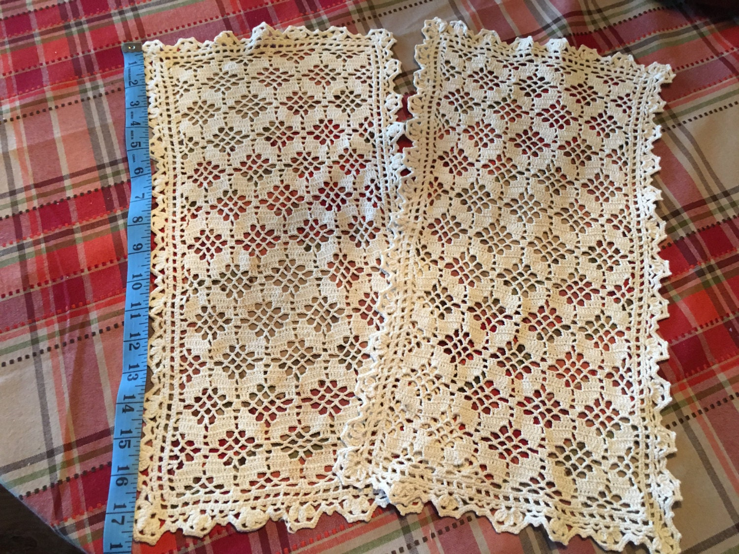 Vintage Hand Crocheted Chair Arm Covers