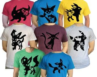 Mens / Females Eevee Evolutions T Shirt Jolteon Vaporeon Espeon Umbreon Nintendio Pokemon 3DS
