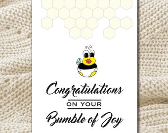Congratulations on your Bumble of Joy - New Baby - Expecting/Baby Shower Card WITH SEEDS for Bee & You