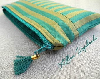 """Zipper Pouch """"Amado"""" – Handmade Pencil Case – Zippered Pouch – Striped Pouch – Cosmetic Bag – Make Up Bag – Pencil Pouch – Jacquard Pouch"""