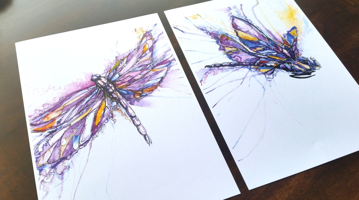 Dragonfly arts and crafts - Dragonfly Pair Sketch Watercolour Print Home Decor Wall Art Modern Art Purple
