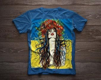 "Personalized hand-painted t-shirt ""Ukraine"""