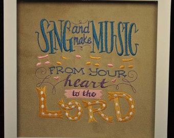 "Embroidered ""Sing & Make Music"" Shadow Box"