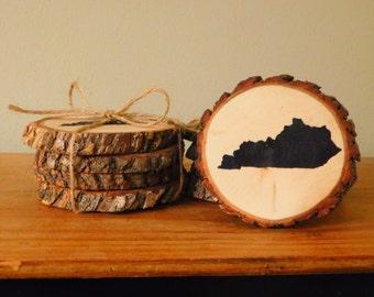 Rustic Kentucky Wood Coasters