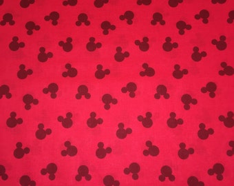 Mickey Mouse Silhouette Red Black Apparel Quilting 100% Cotton Fabric FULL Yard