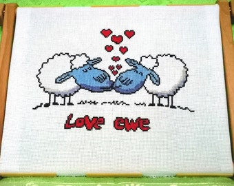 "Finished embroidery ""Love ewe"", Home decor, Gift, Finished cross stitch"