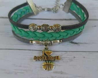 Custom Girl's Sports Bracelet// Basketball Bracelet// Teal and Gray// Basketball Mom// Basketball Gift// Choose Sports Team Colors & Charm