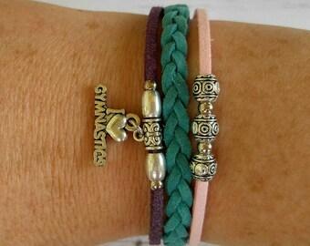 Gymnastics Charm Bracelet//Friendship Bracelet// Girl's Sports Bracelet// Gymnastics Gift// Pick Sports Charm and Colors