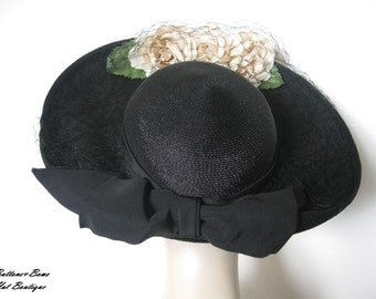 Vintage Black Sisal Derby Style Hat w /Veil New York Creation Circa 1940's