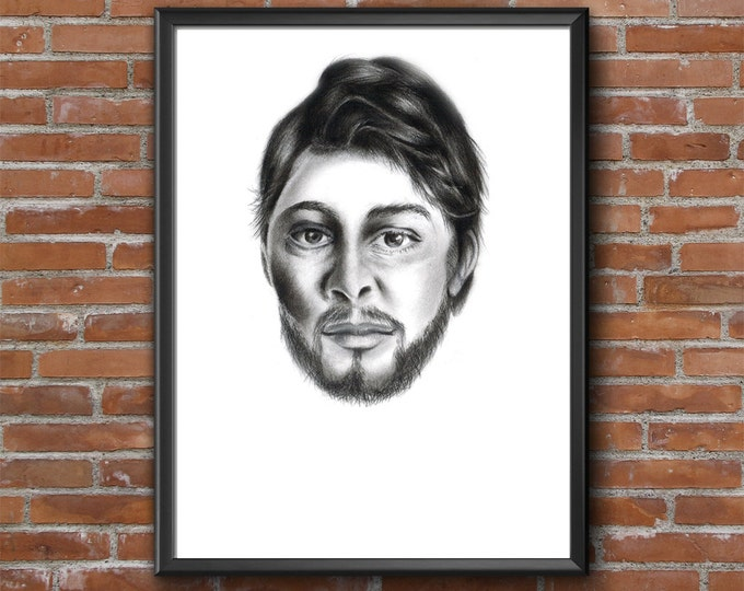 Digital Male Portrait, Man Drawing Print, Pencil Artwork Print, Hand Drawn Man Portrait, Pencil Graphite Print To Download, Modern Man Art