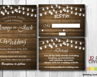 Rustic Wedding Invitation Printable, Wooden Light Bulb Wedding Invitations Printable, Party Invites, RSVP Card, Detail Card, Thank You Card