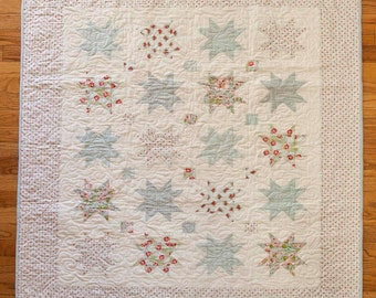 "Baby quilt, star and cornerstone, blues 41"" x 49"""