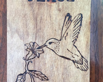 Woodburned design plaque